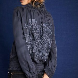 Anthropologie Love Sam Silk Embroidered Bomber